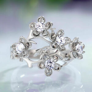 925 Silver Rings Women Fashion Flower White Sapphire Wedding Jewelry Size 5-10