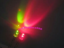 100pcs 3mm Dual Bi Color Redgreen Led Water Clear Leds 2 Pin Lights Resistors