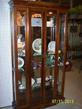 "* LARGE 40"" WIDE BURL WOOD TRIMMED PULASKI CURIO CABINET DISPLAY CASE 2 DOORS"