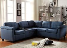 Blue Linen Sectional Sofa W/ Console Contemporary Comfort Furniture Sofa Couch