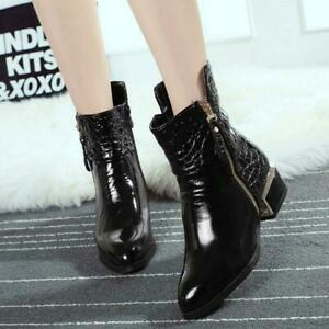 Ladies Punk Side Zip Pointed Toe Patent Leather Ankle Boots Shoes UK Sz FST53