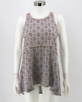 Lauren Conrad Top Size Small Blue Floral Crochet Trim Sleeveless A-Line Womens