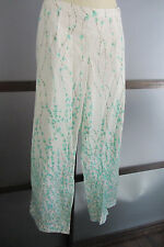 Exofficio Pants 14 L Whimsical Cotton Blend Leafts Aqua Blue White