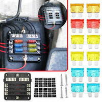 6 Way Blade Fuse Box Block Holder LED Indicator Auto Marine Waterproof for Car