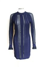 New 3.1 PHILLIP LIM Long Sleeve Pointtelle Lace Navy Dress XS