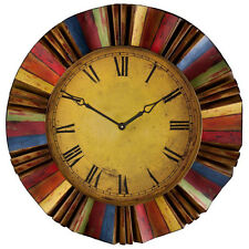 """30.5"""" Large Decorative Wall Clock Colorful Metal Analog Home Decor Vintage Look"""