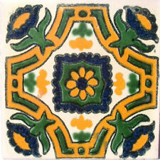 90 MEXICAN CERAMIC TILES WALL OR FLOOR USE CLAY TALAVERA MEXICO POTTERY #C042