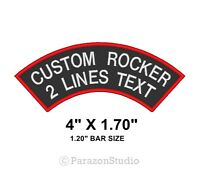 """Custom Embroidered Two Lines Top Rocker Sew on Patch Biker Badge 4"""" X 1.70"""" (B)"""
