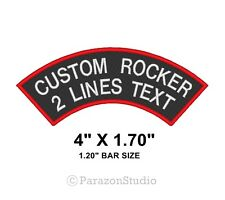 "Custom Embroidered Two Lines Top Rocker Sew on Patch Biker Badge 4"" X 1.70"" (B)"