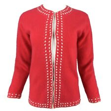 Vintage Oriental CHINESE ARTS & CRAFTS Red Pure Cashmere Embellished Cardigan M