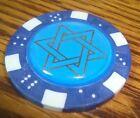 STAR OF DAVID Epoxy design Poker Chip,Golf Ball Marker,Card Guard Med. Blue