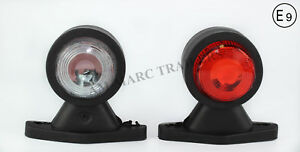 2x RED WHITE RUBBER SIDE END MARKER LIGHT FOR IFOR WILLIAMS INDESPENSION TRAILER