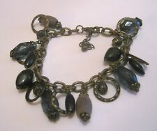 Lovely dark bronze tone metal chain bracelet various beads and charms 6-7½ ins