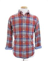 Ralph Lauren Lined Double Layer Flannel Button Shirt Madras Plaid Red Sz Small