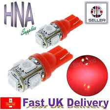 2 x 5 SMD LED 501 T10 W5W BRIGHT RED Side Light Interior Numberplate Bulbs Ford