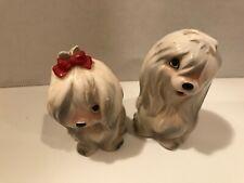 Vintage Maltese Dog Puppies Salt Pepper Shakers Set Lefton Japan Porcelain cute