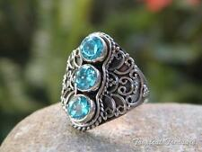 Blue Topaz Trio & 925 SOLID Silver RING (Size 6 1/4, M) #97648