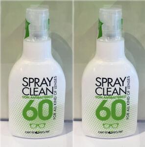 SPRAY CLEAN 2X60 ML DETERGENTE IGIENIZZANTE ANTIBATTERICO PULIZIA OCCHIALI