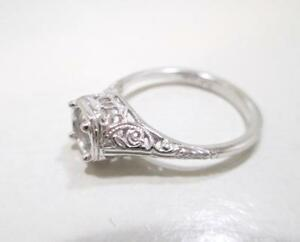 10 KT WHITE GOLD FILIGREE SEMI MOUNT RING SIZE 7 FOR A 1/2 CARAT DIAMOND