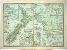 Original 1902 Map of Islands of the Pacific by The Century Company. Antique
