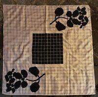 1980's Vera Neumann Grid Scarf w/ Floral Silhouettes (27 x 27)
