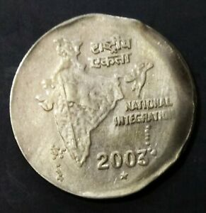 India Republic 2003-H Two rupees off center  strike error coin.