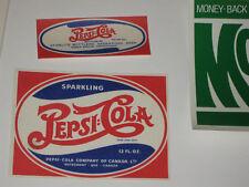 Pepsi Cola NOS Double Dot Paper Label Soda Pop Bottle  Canada 1940s