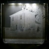 """Antique Glass Dry Plate Photo Negative 4""""×5"""" Photograph House People Tree"""