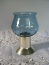Mikasa Inspiration Blue Crystal Hurricane Candle Lamp/Stainless Steel-NEW-No Box