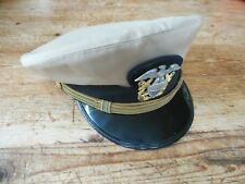 WWII USN US Navy Khaki Officers Dress Uniform Visor Hat Cap Bancroft Name Inside