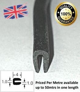 Black Rubber U Channel Edging Trim Seal 4mm x 3mm