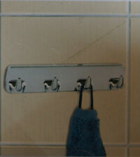 WENKO Hakenleiste Chrom 4 Haken Tür Halter Handtuch Kleidung selbstklebend