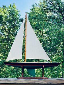 "Vintage Wood Pond Yacht Model Display Sailboat Nautical Ship 31""x 24"" Sail Gift"