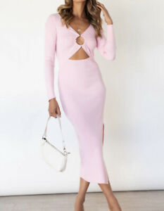 NEW TIGERMIST PINK RIBBED LONG SLEEVE KNIT O RING CUT OUT MIDI DRESS 6 8 10 12