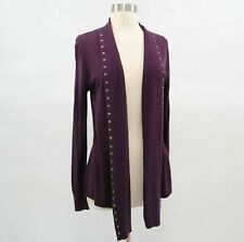 Jigsaw Cardigan Sweater Womens S Small Purple Silk Cashmere Open Front Studs