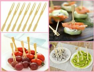 Bamboo Fruit Cocktail Forks Party Finger Food Wedding BBQ Buffet
