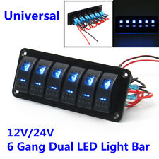 Car Caravan Marine Boat Rv 12V/24V 6 Gang Dual LED Light Bar Rocker Switch Panel