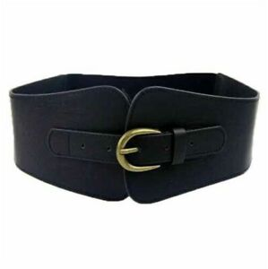 Waistband Corset Faux Leather Cinch UK Fashion Womens Belt Wide Elastic Stretch
