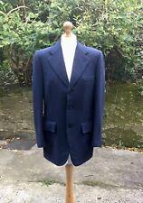 Vintage Savile Row Simon Ackerman Bespoke Navy Cashmere Jacket - Size 38R - VGC