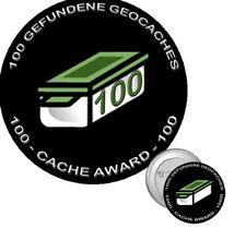 100 Finds / Funde Anstecker Pin Neu* 100 gefundene Geocaches