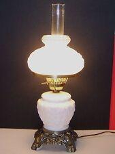 "GWTW FENTON WHITE MILK GLASS POPPY 22"" BRASS ELECTRIC LAMP DOUBLE GLOBE & LIGHT"