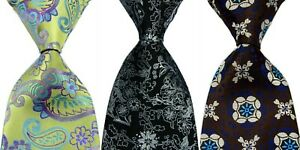 3pcs Men's Classic 100% Silk tie Floral Necktie Green Black JACQUARD WOVEN