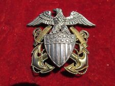 US Navy Badge for Dress Cap Hat Viking Full Size Sterling Screw back