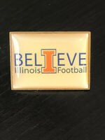 Vintage Collectible I Believe Illinois Football Colorful Metal Pin Back Hat Pin