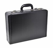 Attache Briefcase Executive Business Bag Leather Look Combination Lock Black NEW