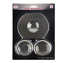 Conjunto de 3 Filtro De Comida Colador De Fregadero Baño Lavabo Enchufe Agujero Plata