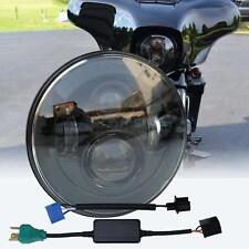 "7"" LED Projector Smoke Black Headlight for Harley Street Glide Softail FLHX FLD"