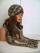 BROWN GRAY MULTI CROCHET HAT AND SCARF SET HAND MADE BEANIE CLOCHE TAM SKULL CAP