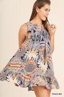 UMGEE Boho Print Mini A-Line Dress Flared Flowy Sleeveless Loose Pleated Tunic