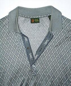 BOBBY JONES Golf Polo Shirt GRAY & BLACK Argyle Cotton ITALY Mens EUC Large LG